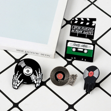 Punk music enamel pin vinyl record <strong>player</strong> badge brooch lapel pin for jeans shirt
