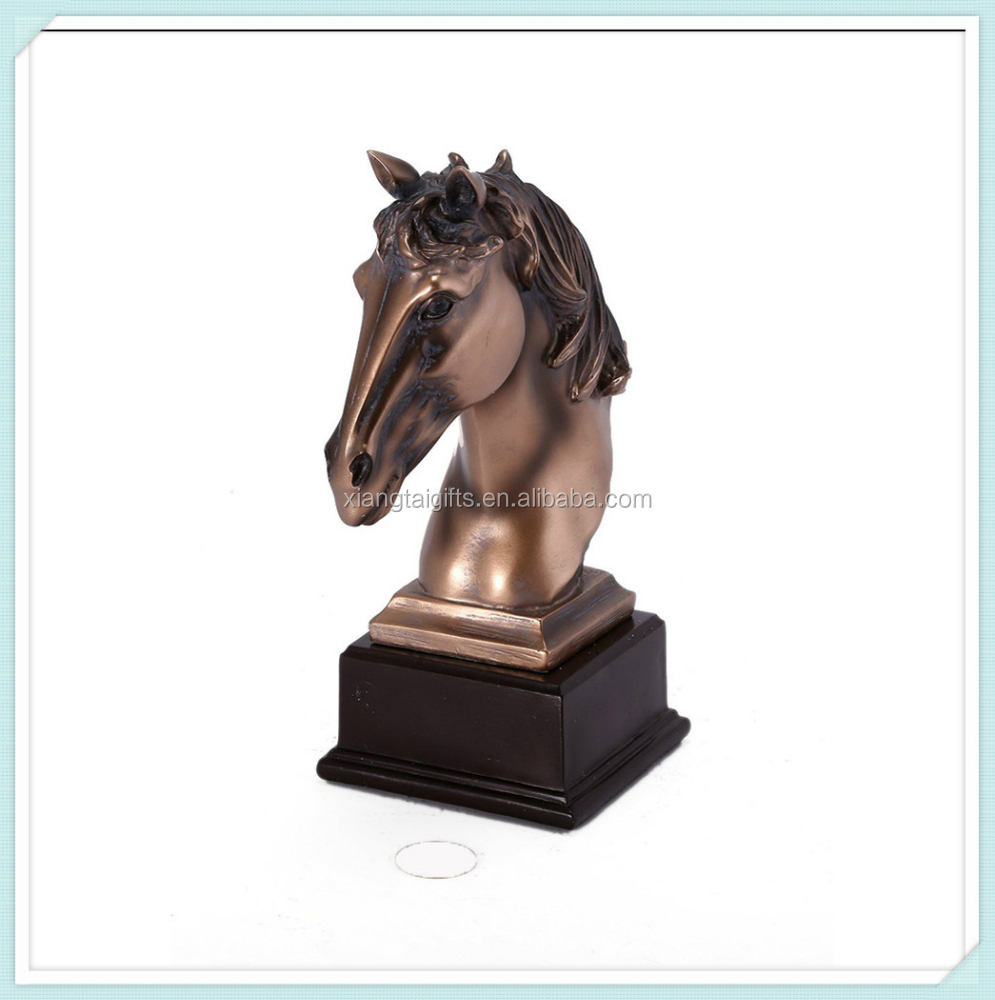 Horse head bronze polyresin animal crafts