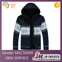 2016 fashion design blue knitted wool warm winter hooded jackets mens