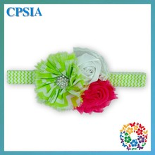 Lovely Green Chevron Elastic Headband With Puff Flower Toddler Baby Elastic Rhinestone Headband