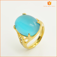 18k plating gold stainless steel casting fashion Sky blue with opal rings