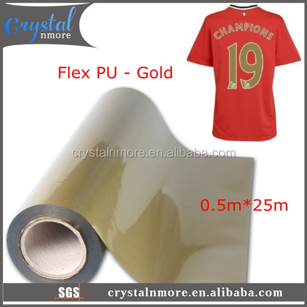Gold Flex PU Vinyl Heat Transfer Roll for t shirt