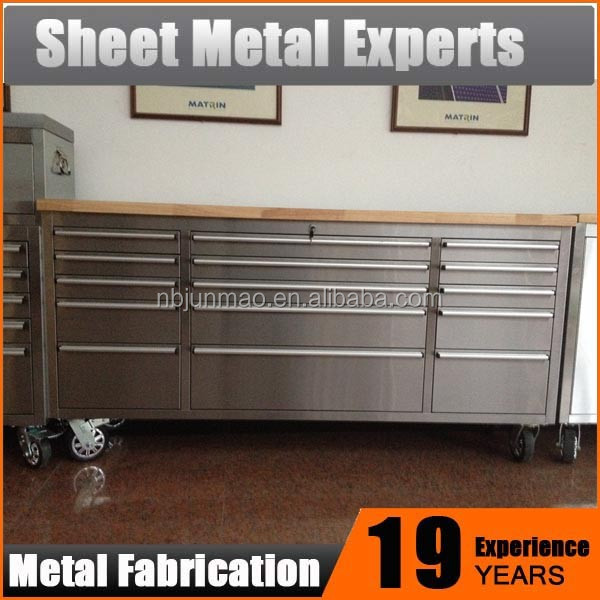 Rubber Wood Top 15 Drawer Workbench 72 inch stainless steel tool box