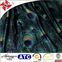polyester lycra thermal transfer peacock gradual change print fabric for one-piece-dress