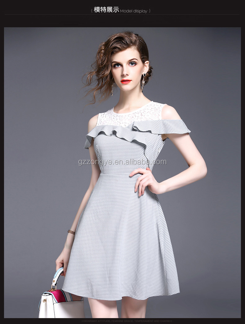 Summer dress off-the-shoulder dress short sleeve splicing lace evening dress