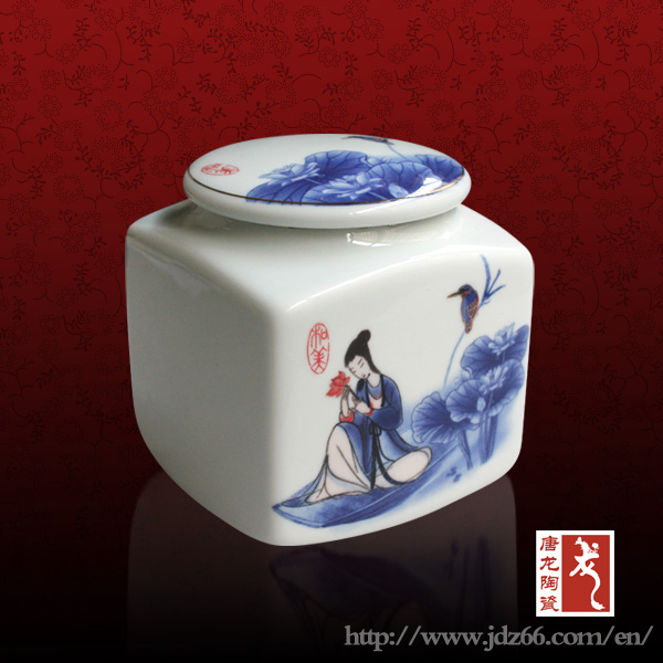 Various Size in Stock White Square Ceramic Canister