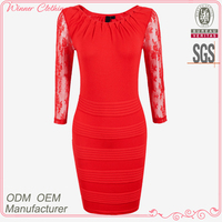 Elegant/gorgeous long sleeve lace trimed v-neck red gents dresses