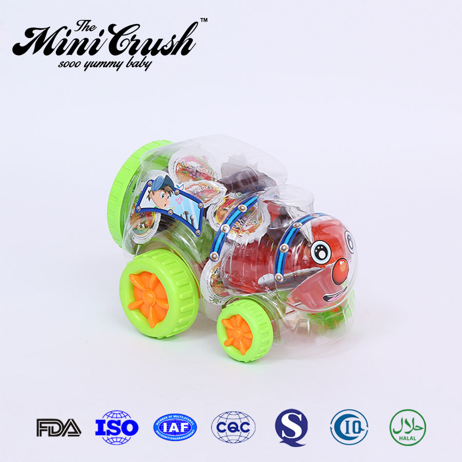 Modern design jelly candy in baby car toys jar