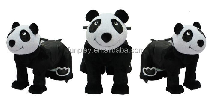 HI Black and White Panda Plush Zoo Animal Electric Scooter for Kids