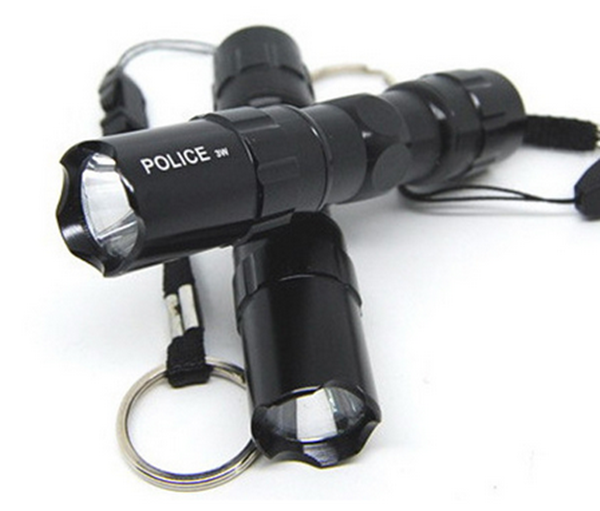 Police 3W LED Mini Waterproof Flashlight with Key chain