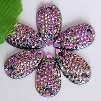 hot sell preset rhinestone in sew on mounting light pink AB color sew on flat back rhinestones for dress