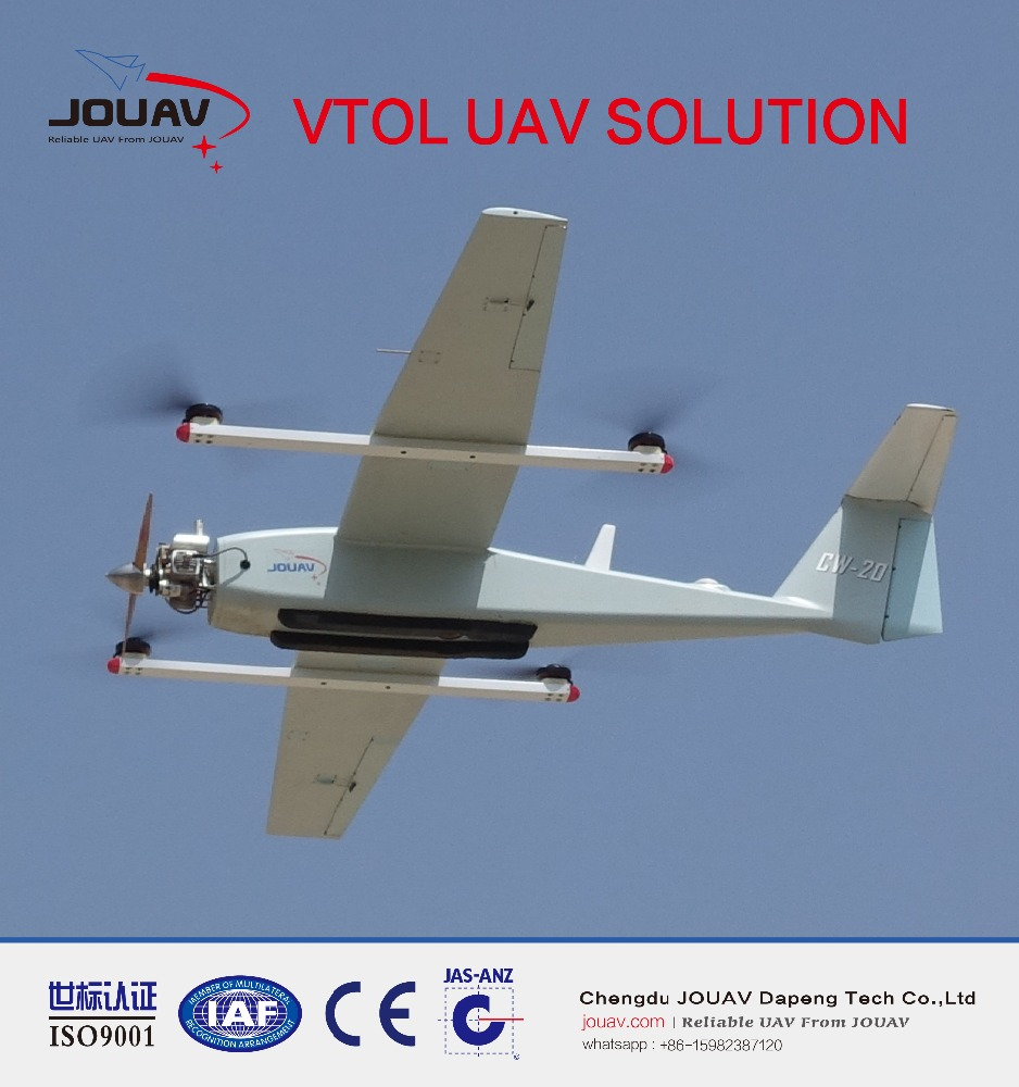 CW-20 VTOL UAV hybrid fixed wing and quadcopter drone