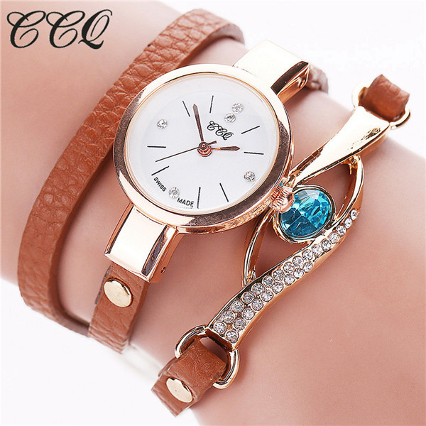 2016 CCQ Brand Eye Gemstone Luxury Watches Women Gold Bracelet Watch Dress Female PU Leather Electronic Quartz Wristwatches C53