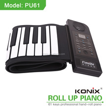 electric roll up piano 61keys piano nordiska keyboards instrument waterproof silicone speaker shenzhen toys