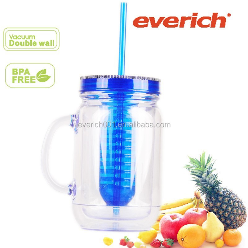 16oz double wall AS plastic mason jar with handles and straw