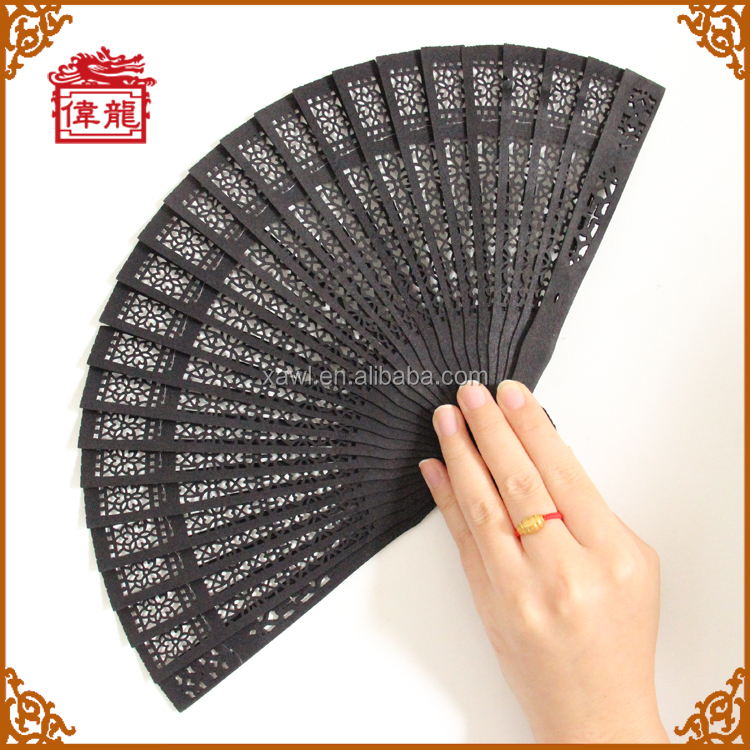 Cheap wedding fan programs wooden craft black hand fan GYSC101-7