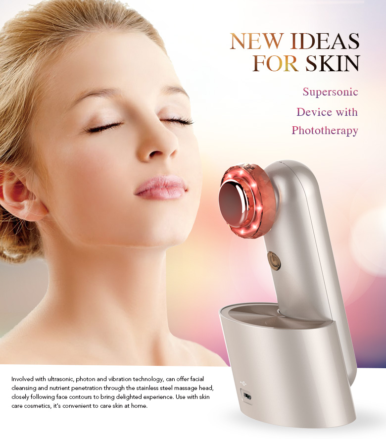Ultrasonic color light beauty apparatus clean into the source of skin care products, exclusive private model support OEM, ODM