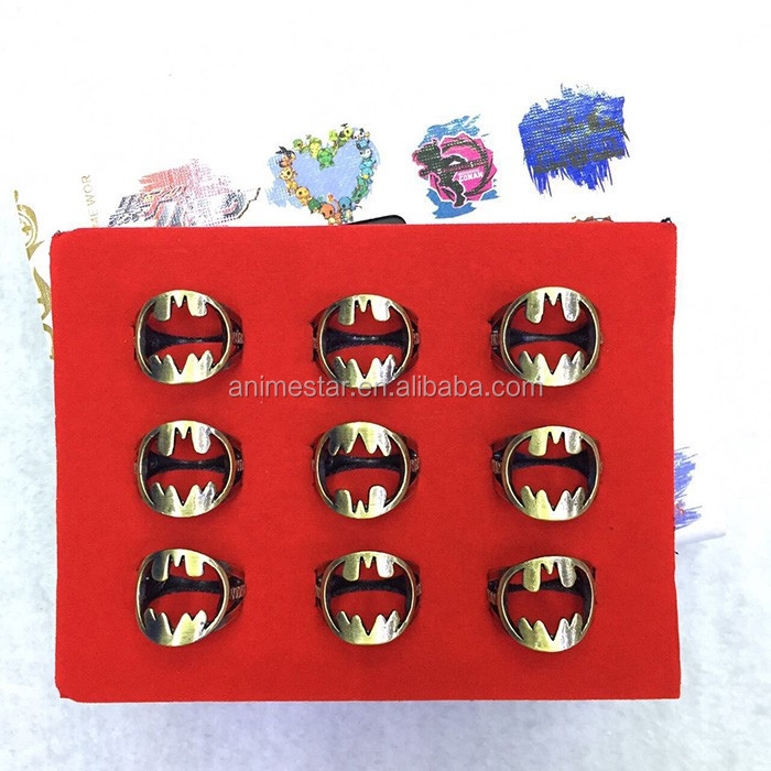 Fashion Batman Movie Party Accessories Usally Size Ring Wholesale Alloy Box-packed Anime Hollow Ring (9pcs/set)