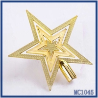 Christmas tree decoration fast delivery high quality lowest price plastic material gold christmas star decoration