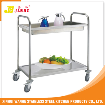 Hot Sales Two-Layers Stainless Steel Service Trolley For Kitchen