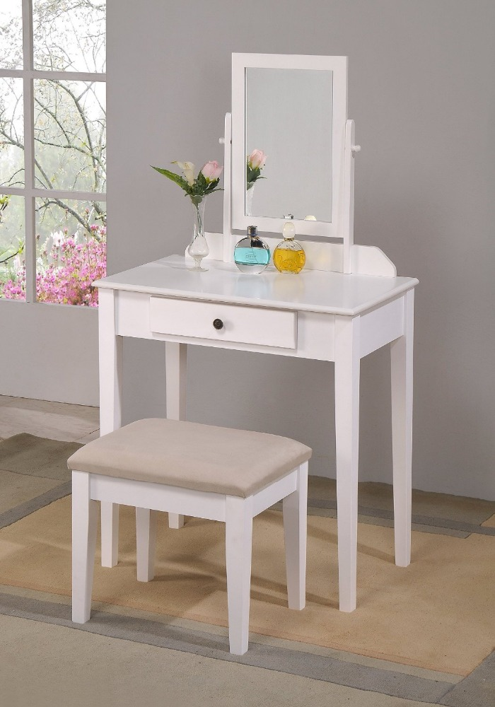 Factory antique mirrored furniture dressing table design make up white table Dresser