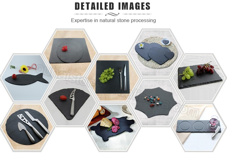 Beautiful and special slate stone heart shape fruit table mats