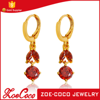 Fashion New Design Long Gold Plated Red Rudy Gold Dangling Hoop Earrings