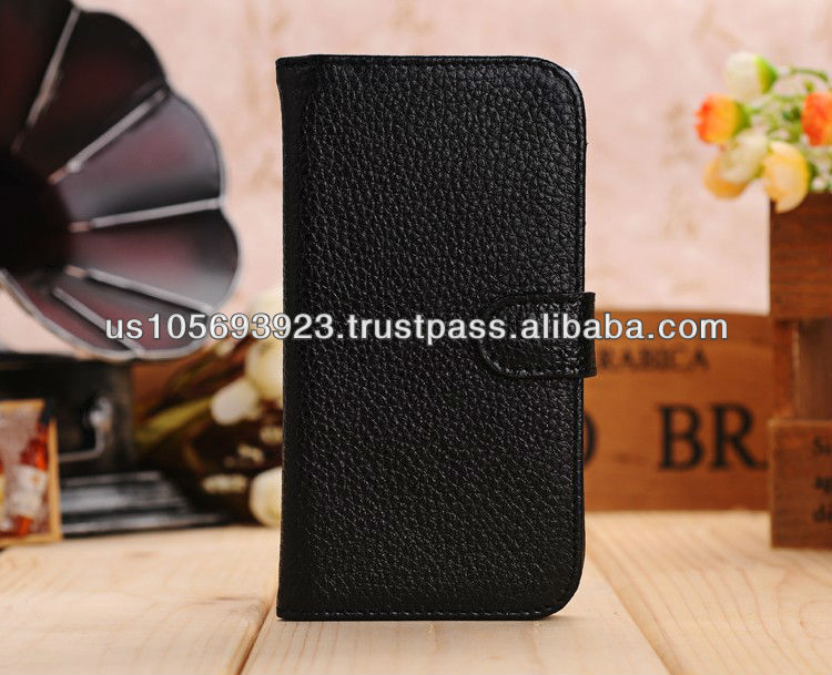 Genuine Leather Stand Case Cover For Sumsung Galaxy S4/I9500 Credit card holder Paypal Accepted