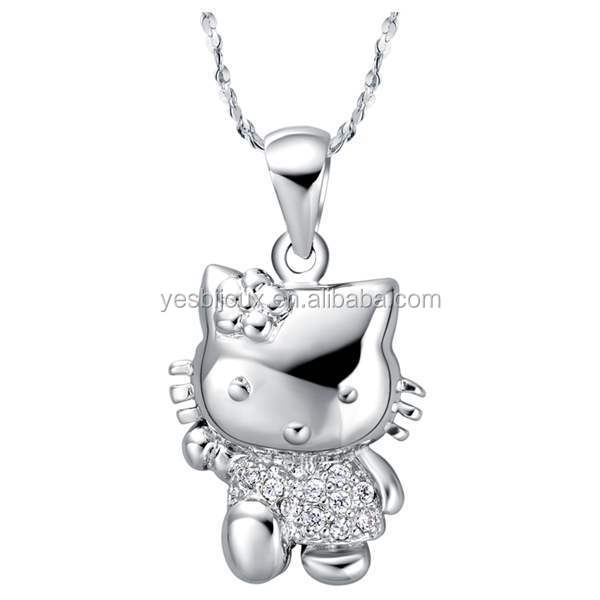 hello kitty silver Pendant Necklace for girls