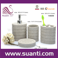 Wholesale Promotion Custom Cheap Complete Select Chrismas Hotel Polystone Bathroom Sets in Grey
