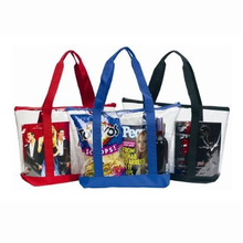 Clear ZIPPER tote with color trim and bottom clear PVC bag