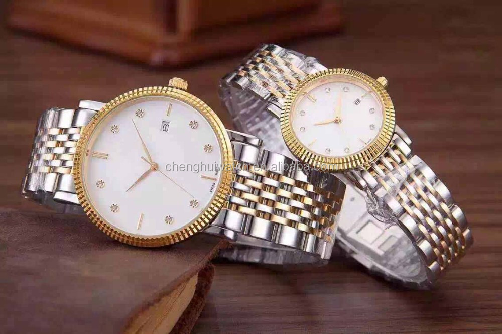 Luxury Pair of Couples Lovers Women Men Diamond Stainless Steel Automatic Self Wind Date Watch White Sliver Gold