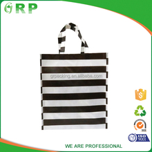 ISO/BSCI Hot selling black strips design smooth eco friendly pp non woven shopping bag