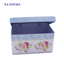Hot Selling Full Color Logo Printed Factory Directly Rectangular Tin Boxes With Hinged Lids