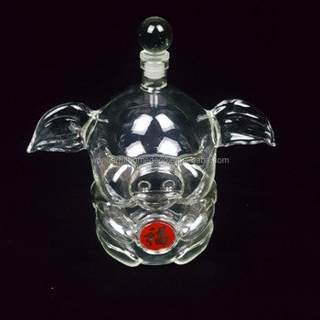 Hand Made Mouth Blown Borosilicate Glass Pig Shaped Design Wine Bottle