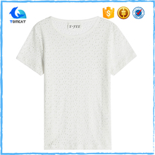 Bulk Wholesale Custom White 100% Cotton Woman Trendy Short Sleeve Round Neck T-Shirts