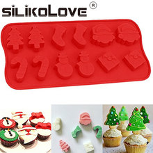 Amazon Hot Selling 12-cavities Christmas Santa Christmas Tree Gift 3d Silicone Chocolate Molds