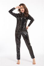 20115 Instyles Sexy Catwoman Valse Leer Rits Wetlook Jumpsuit Catsuit Club Fancy Dress