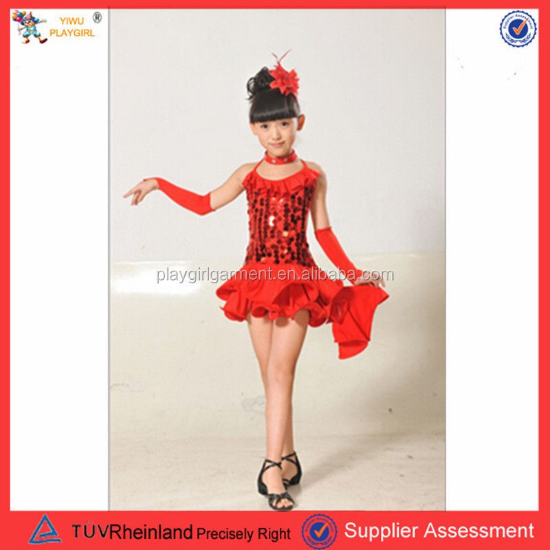 PGCC-2371 New Fahion Children Red Ballroom Party Dancing Clothes Kids Latin Game Dance Costumes
