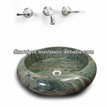 Bidasar Green Marble Round Wash Basin sandstone sink home decor sandstone sink