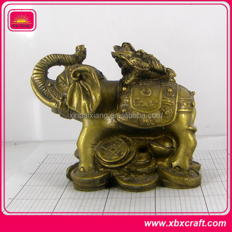 3D Metal Brass Antique Statue Elephant Figurine for Desk Decoration