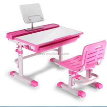 Kids study table and chair height adjustable writing children study desk pink and blue