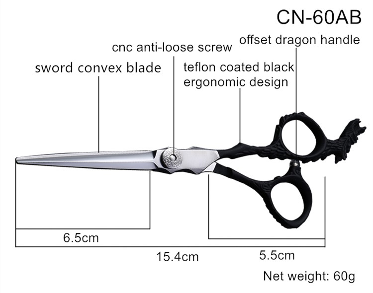 Professional Salon Use Barber Shop Offset Dragon Handle Hair Scissor