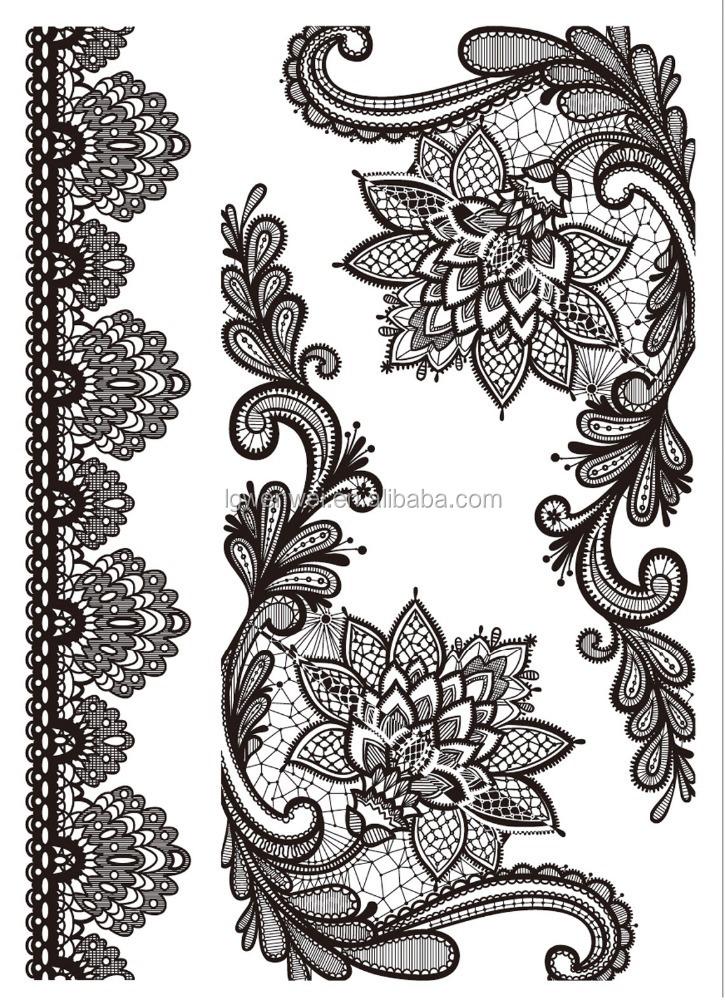 nouveau design blanc dentelle noire tatouage temporaire tatouage ph m re id de produit. Black Bedroom Furniture Sets. Home Design Ideas
