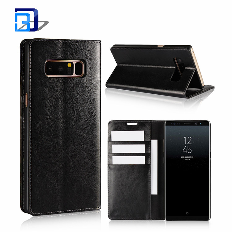 Book Style Retro Crazy Horse Pattern Magnetic Closure Genuine Leather Wallet Stand Case Flip Cover For Samsung Galaxy Note 8