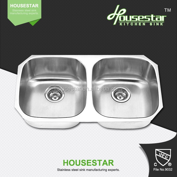 8247A alibaba wholesale high quality perfect brushed double bowl stainless steel 16g or 18g press kitchen sink with strainer