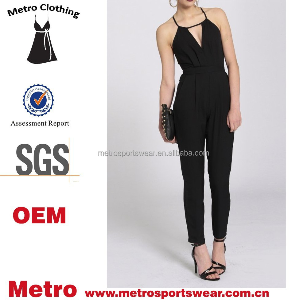formal jumpsuit ladies black fitted halter neck strappy jumpsuit