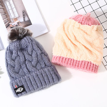 Factory wholesale winter thick warm knitted wool hat cute rabbit fur ball ear protection cap for ladies and girls