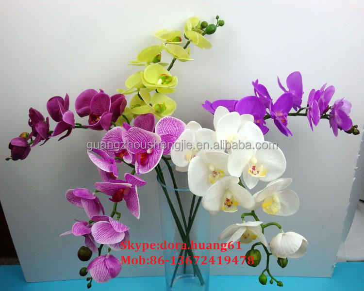 SJH011124 cheap plastic flowers mini artificial silk flowers plastic orchid flower factory