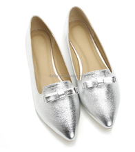 Silver vernis small bow ladies fashion shoes china